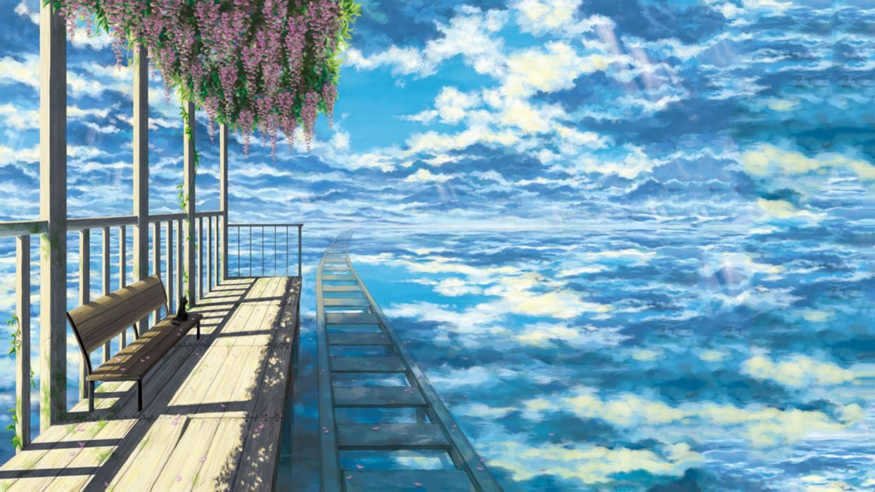 anime scenery train station in the clouds wallpaper