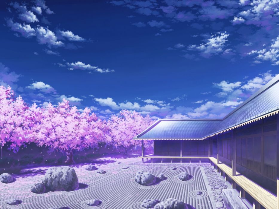 Anime Scenery Cherry Blossoms sky wallpaper
