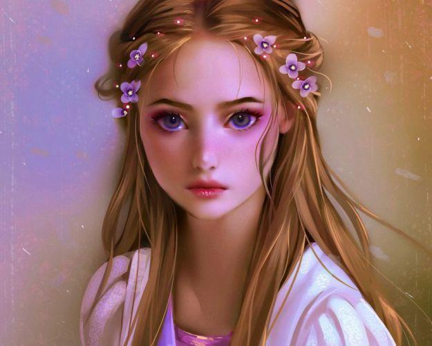 fantasy girl rapunzel blonde cute flower hair wallpaper