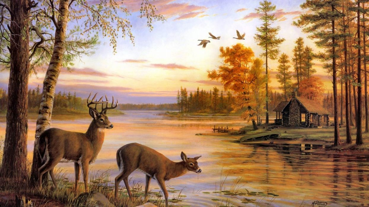 Art Oil Painting Drawing Forest Lake Shore Deer Cottage Wallpaper 1920x1080 1018382 Wallpaperup