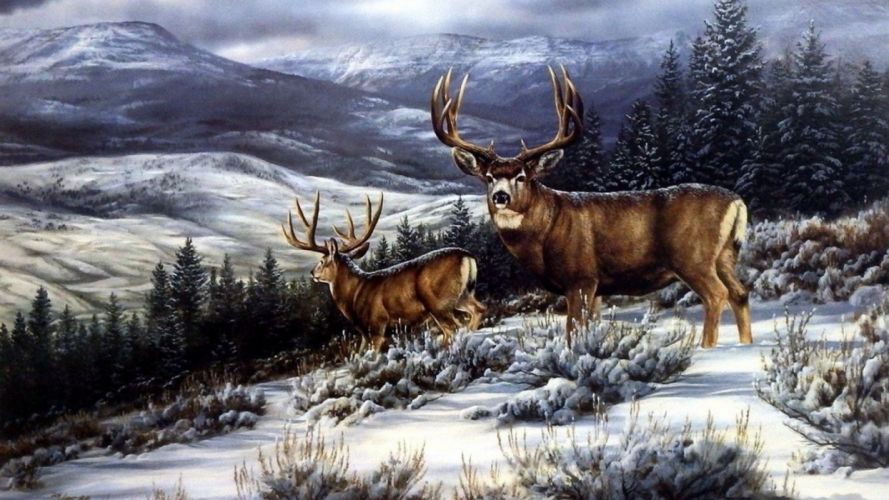art oil painting drawing Dark Forest Deer Snowy Hill wallpaper