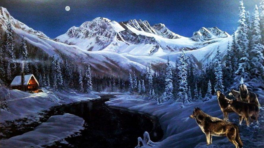 art oil painting drawing Peak Wood Cabin Wolves River wallpaper