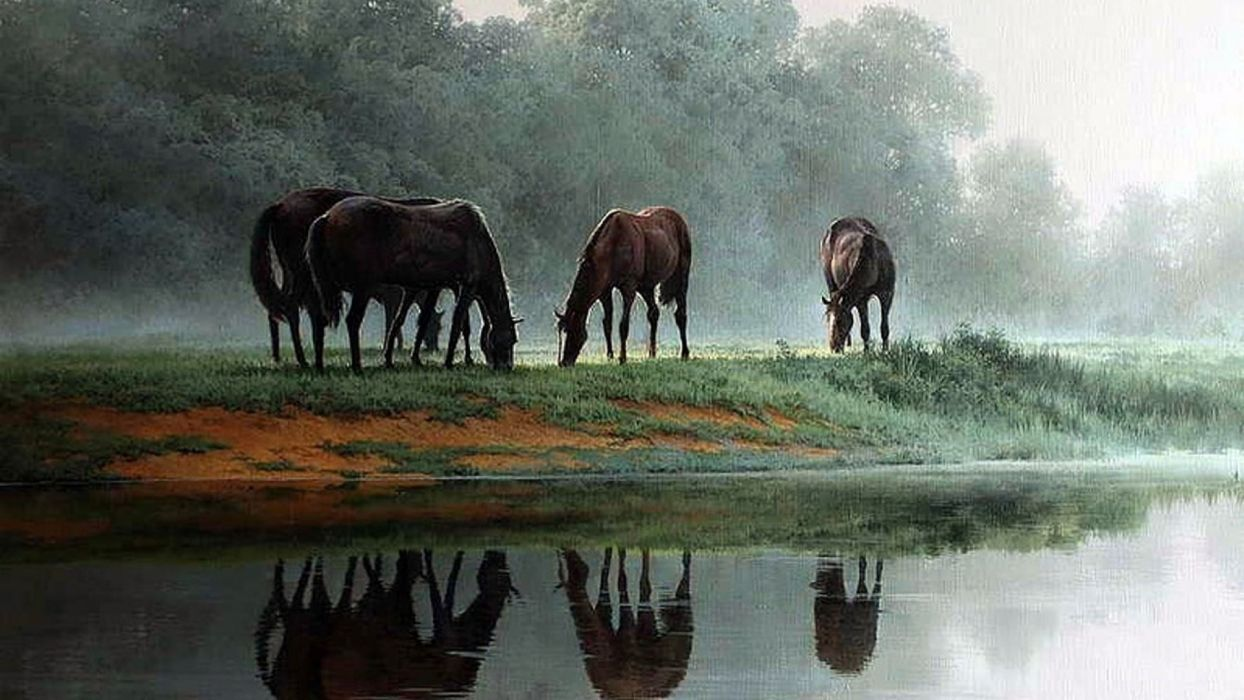 art oil painting drawing Trees Wild Horses Meadow Pond wallpaper