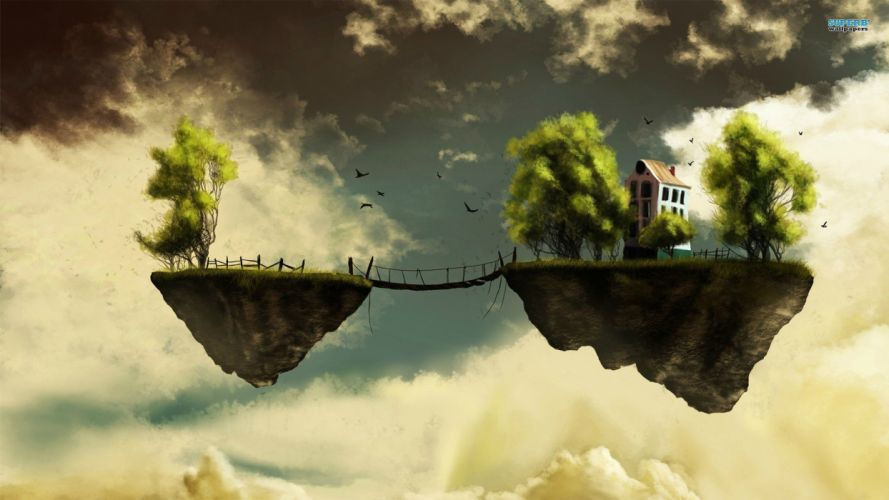 Island Floating Bridge Dream Bokeh Fantasy Sky Fly House Trees wallpaper