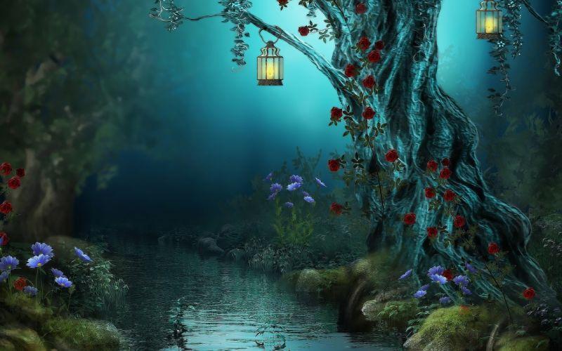 Fantasy Landscape Trees Flowers Rivres wallpaper