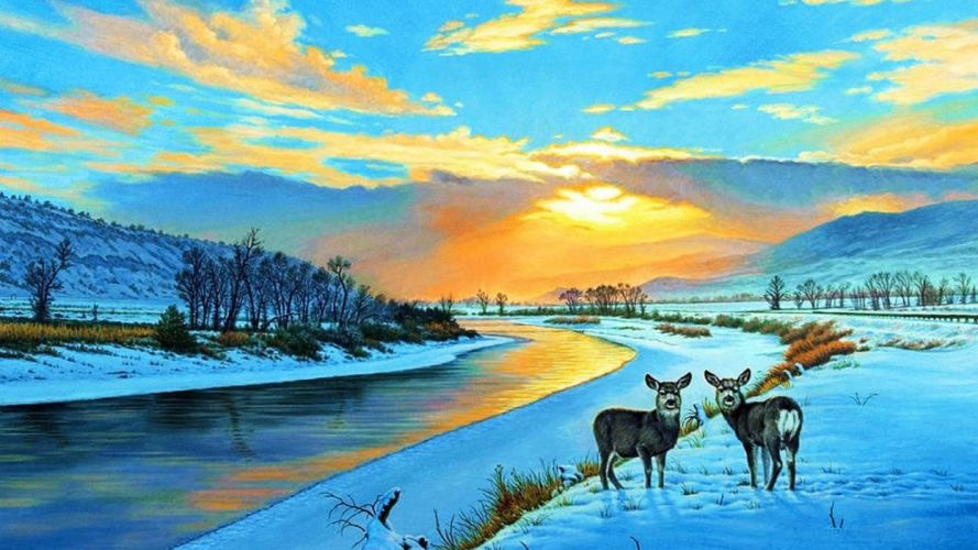 art oil painting drawing Deer Snowy Sunset Yellow Stone wallpaper