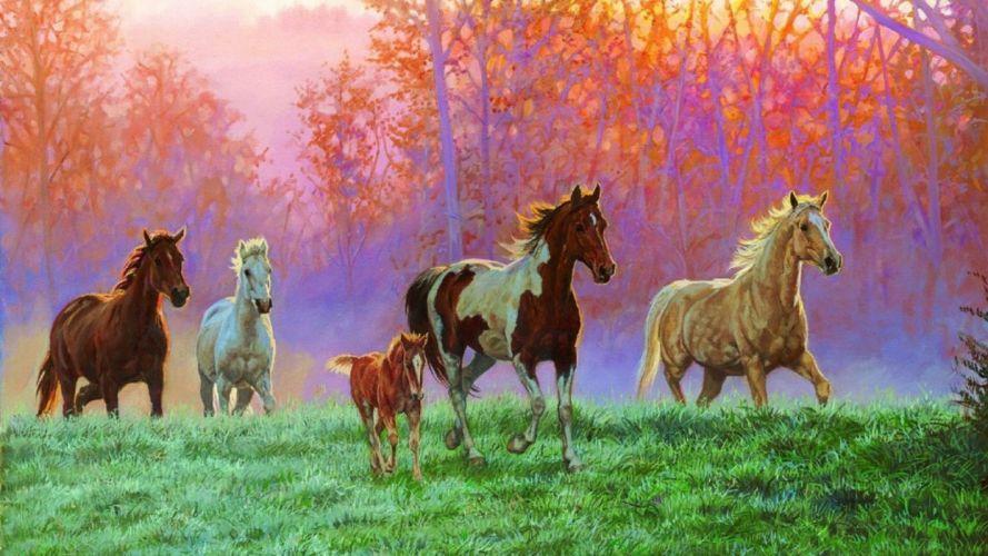 art oil painting drawing Horses Foal Meadow Morning Sun wallpaper