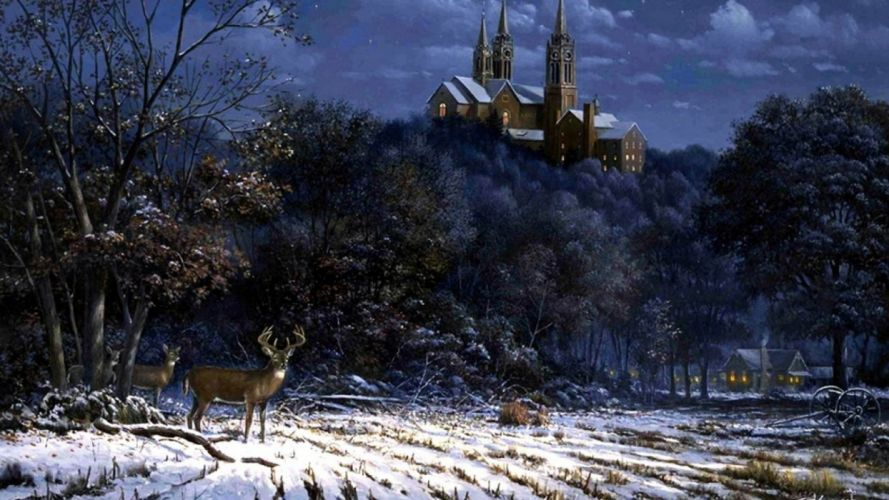 art oil painting drawing Forest Castle Deer Snow Field wallpaper