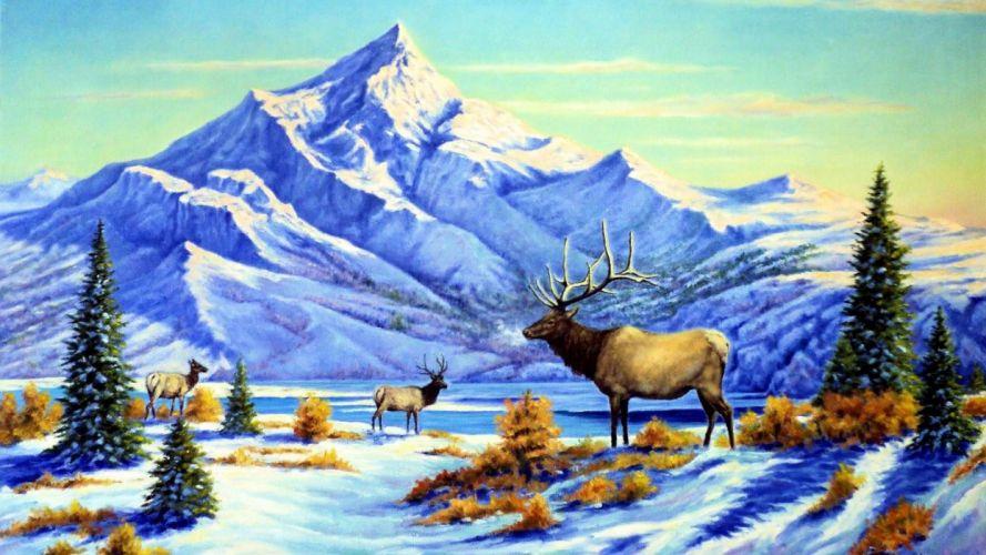 art oil painting drawing Snowy Peak River Deer Trees wallpaper