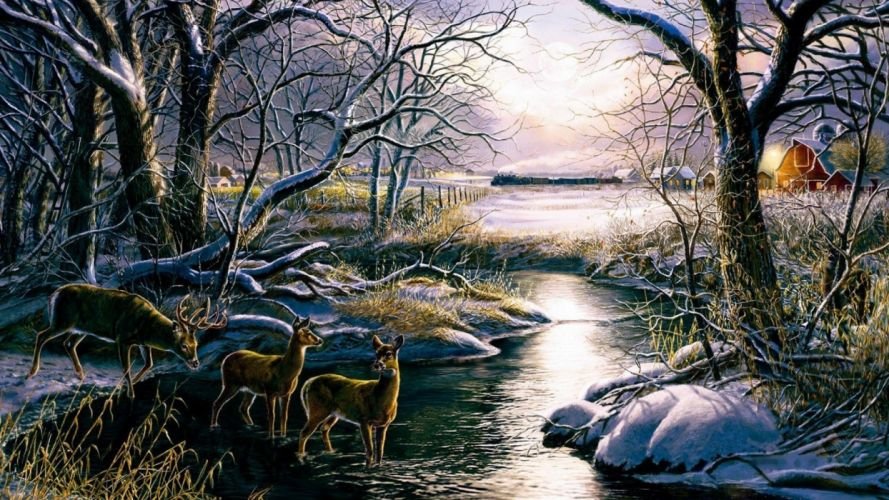 art oil painting drawing Forest Creek Deer Fields Huts wallpaper
