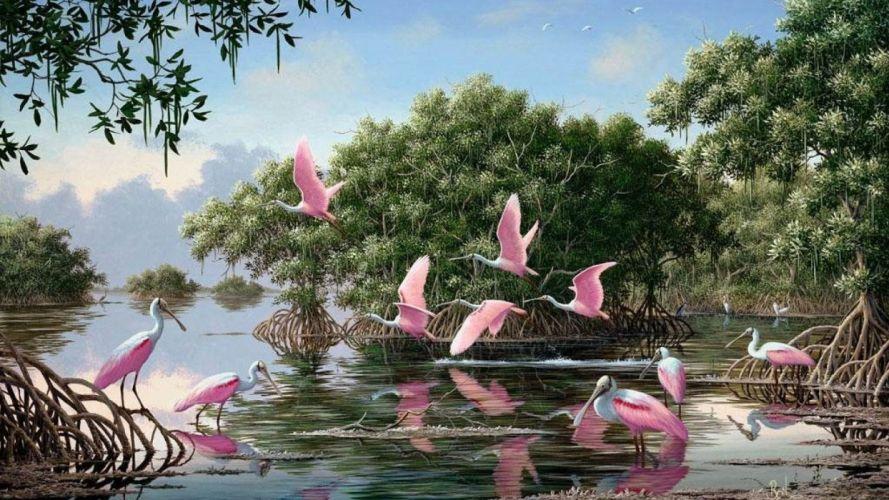 art oil painting drawing Pink Spoonbills Lake Trees wallpaper