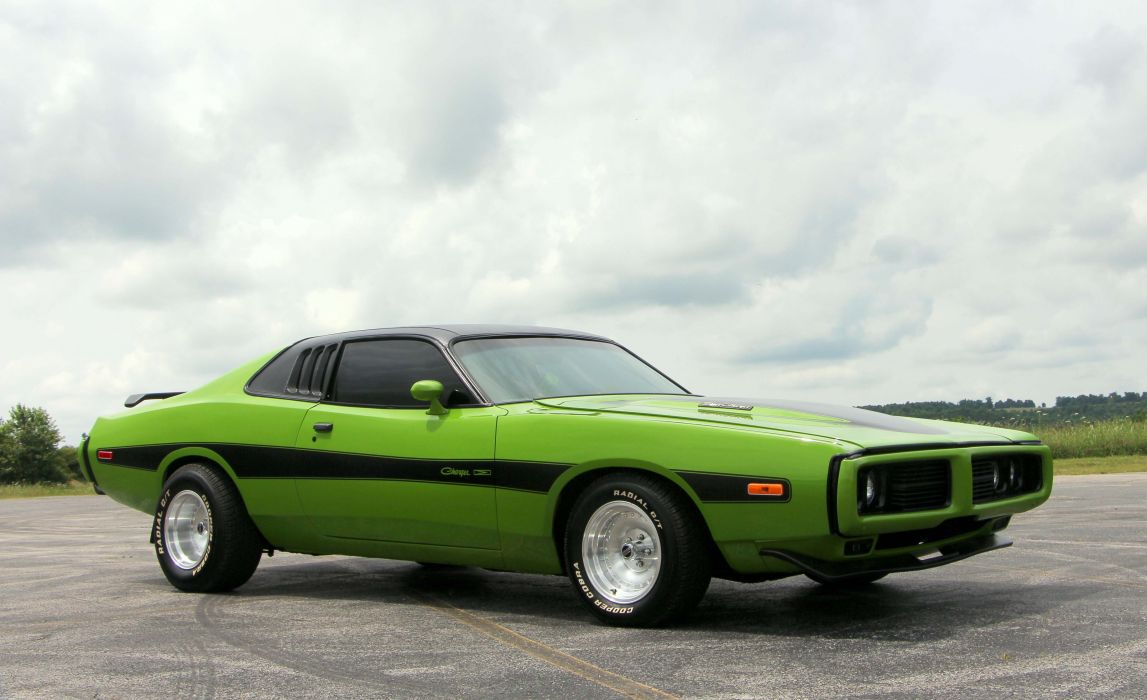 1974 dodge Charger muscles cars green wallpaper
