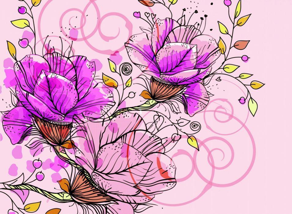 flower vector pink texture  wallpaper