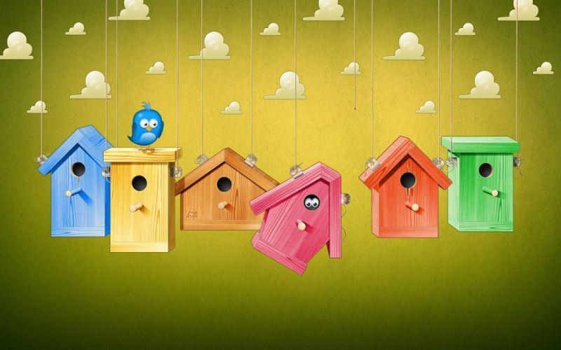 vector bird houses wallpaper