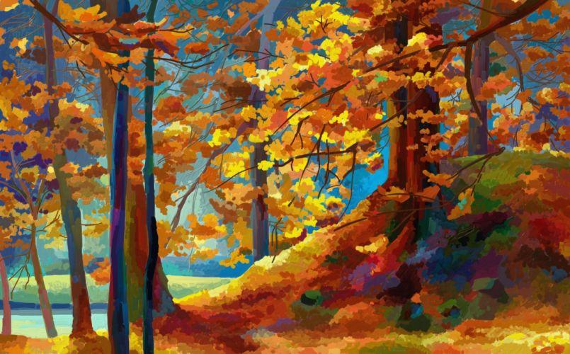 autumn painting texture wallpaper