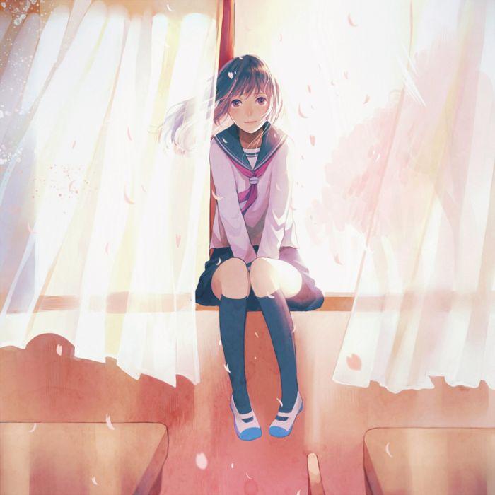 anime girl cute beautiful original school petals wallpaper