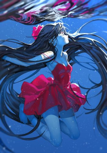 anime girl cute beautiful original reddress water wallpaper