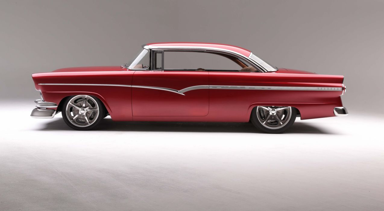 1956 Ford Victoria cars classic red modified wallpaper