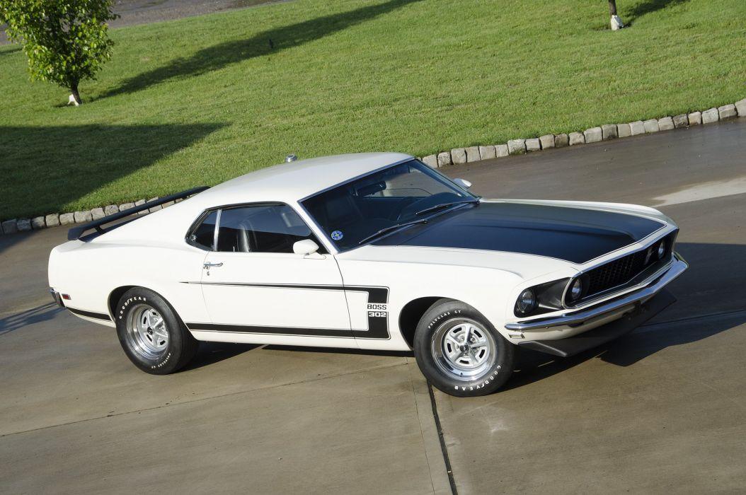 1969 ford mustang boss 302 cars white wallpaper