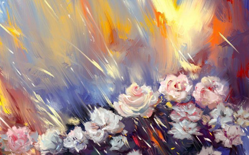 Roses flower oil texture wallpaper