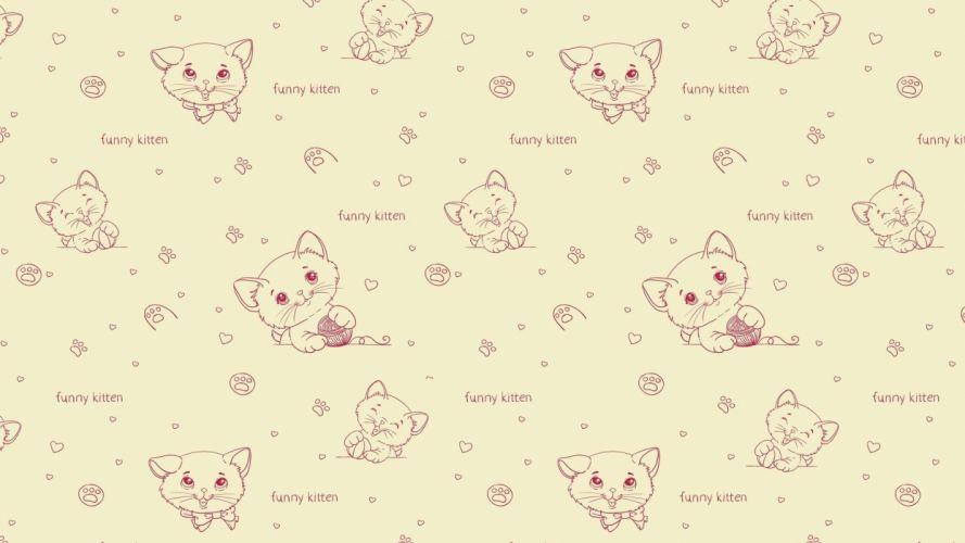 Textures Kitten pattern wallpaper