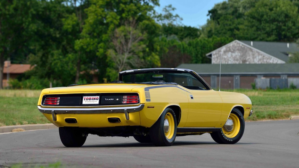 1970 PLYMOUTH HEMI CUDA CONVERTIBLE cars muscle yellow wallpaper