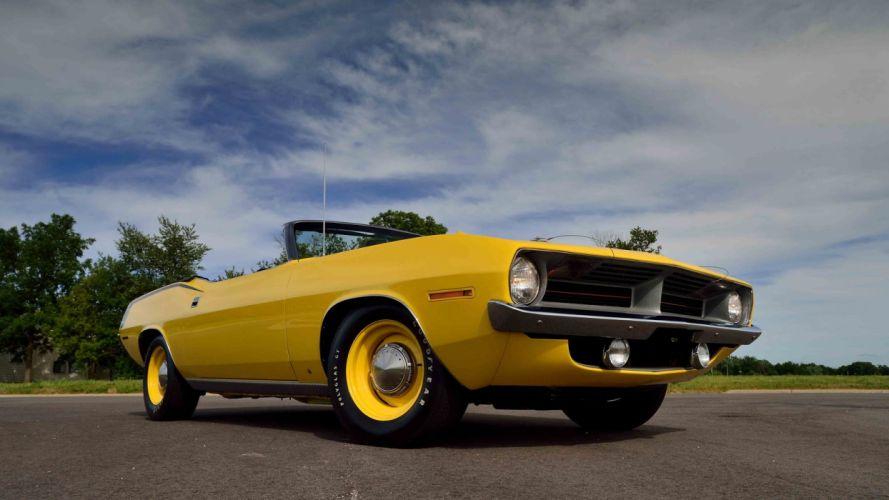 1970 PLYMOUTH HEMI CUDA CONVERTIBLE cars muscle yellow wallpaper