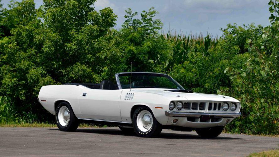 1971 PLYMOUTH HEMI CUDA CONVERTIBLE cars muscle white wallpaper