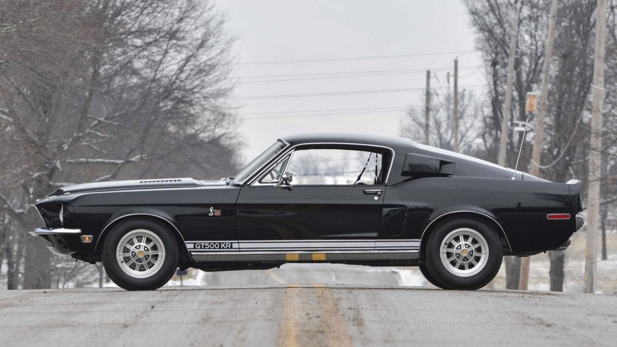 1968 SHELBY GT500-KR FASTBACK cars black wallpaper