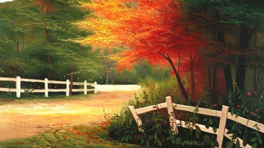 Autumn art painting wallpaper