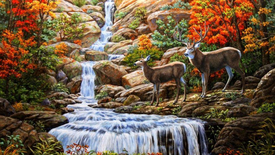Autumn Waterfall art painting wallpaper