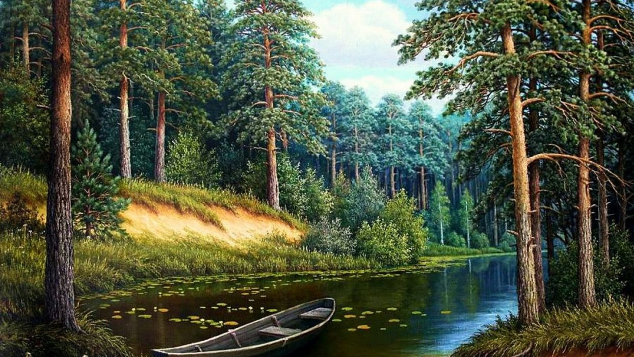 Riverside Harmony drawing painting wallpaper