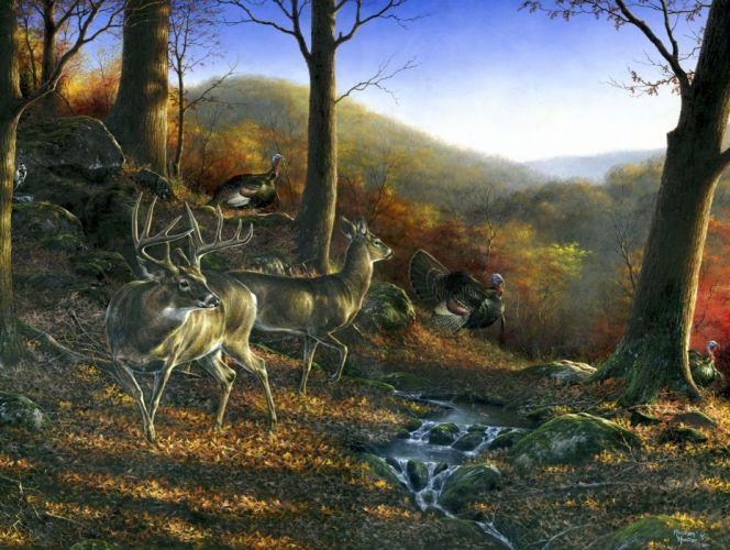 Shawnee Hills painting art animal deer wallpaper