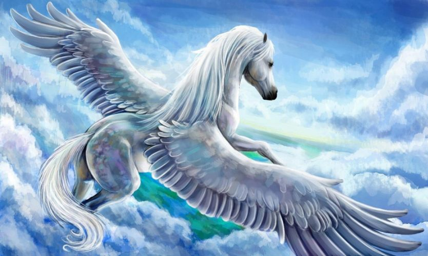 Fantasy Horse sky cloud wings wallpaper