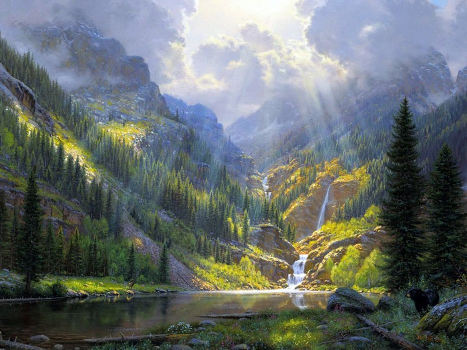 Rocky Mountains painting art wallpaper