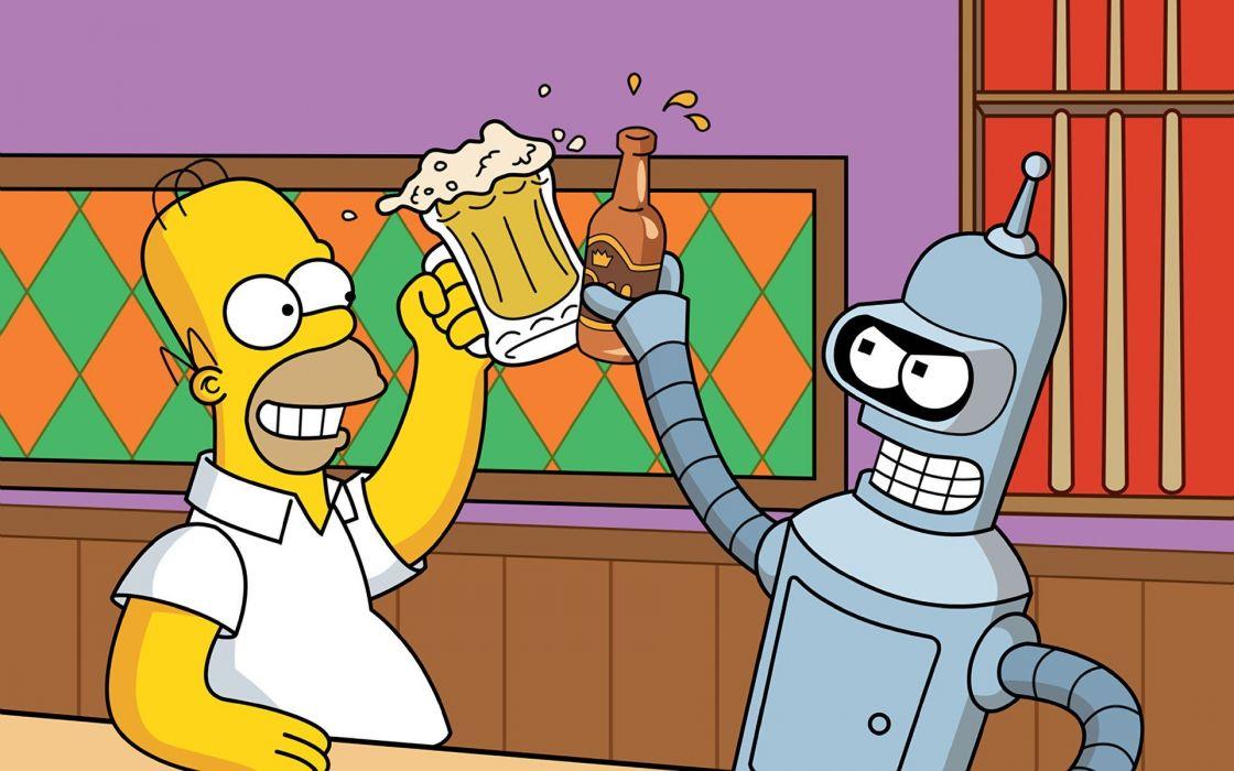 bart simpsons robot cartoons wallpaper