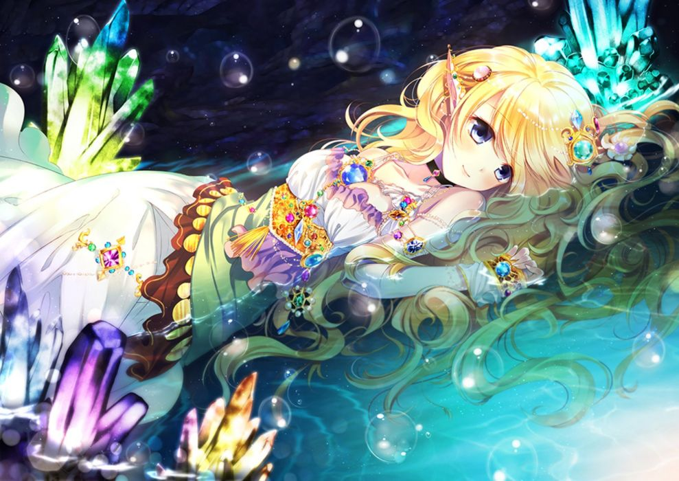Anime Elf Blonde Water Anime Girl Beautiful Cute Wallpaper