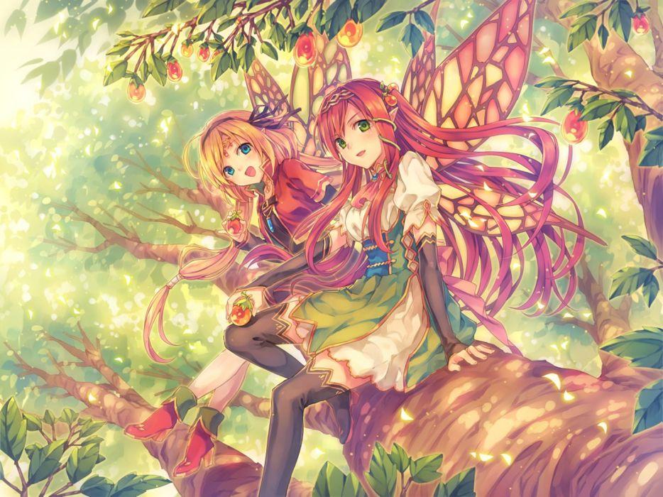 Anime Butterfly girls anime girl beautiful cute original  wallpaper