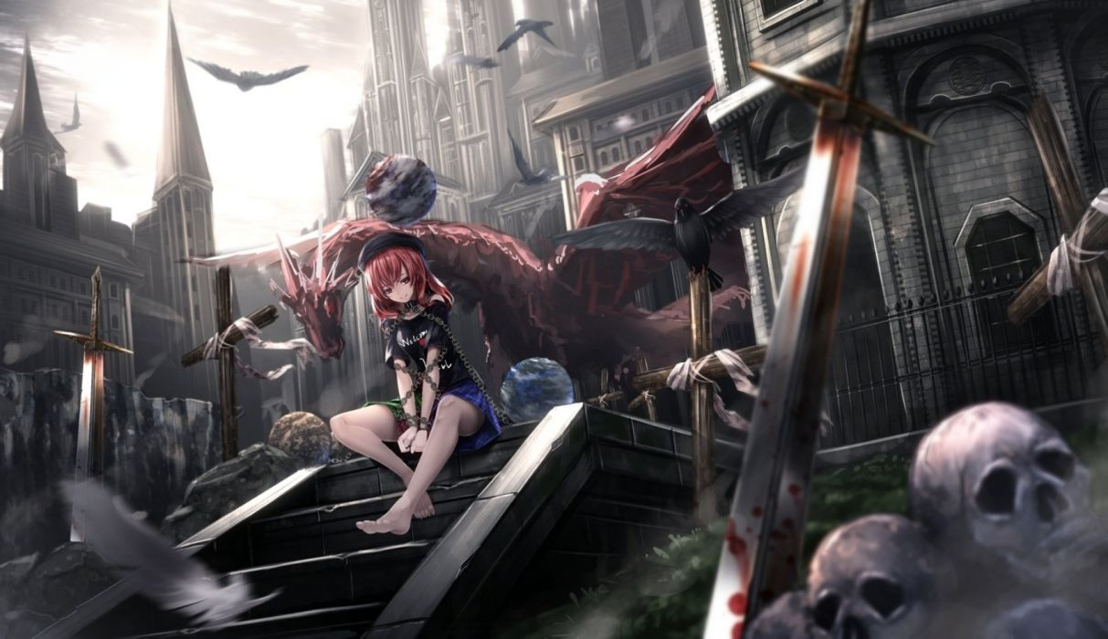 Anime Girl Beautiful Cute Original Anime Skull Blood Sword Dark City