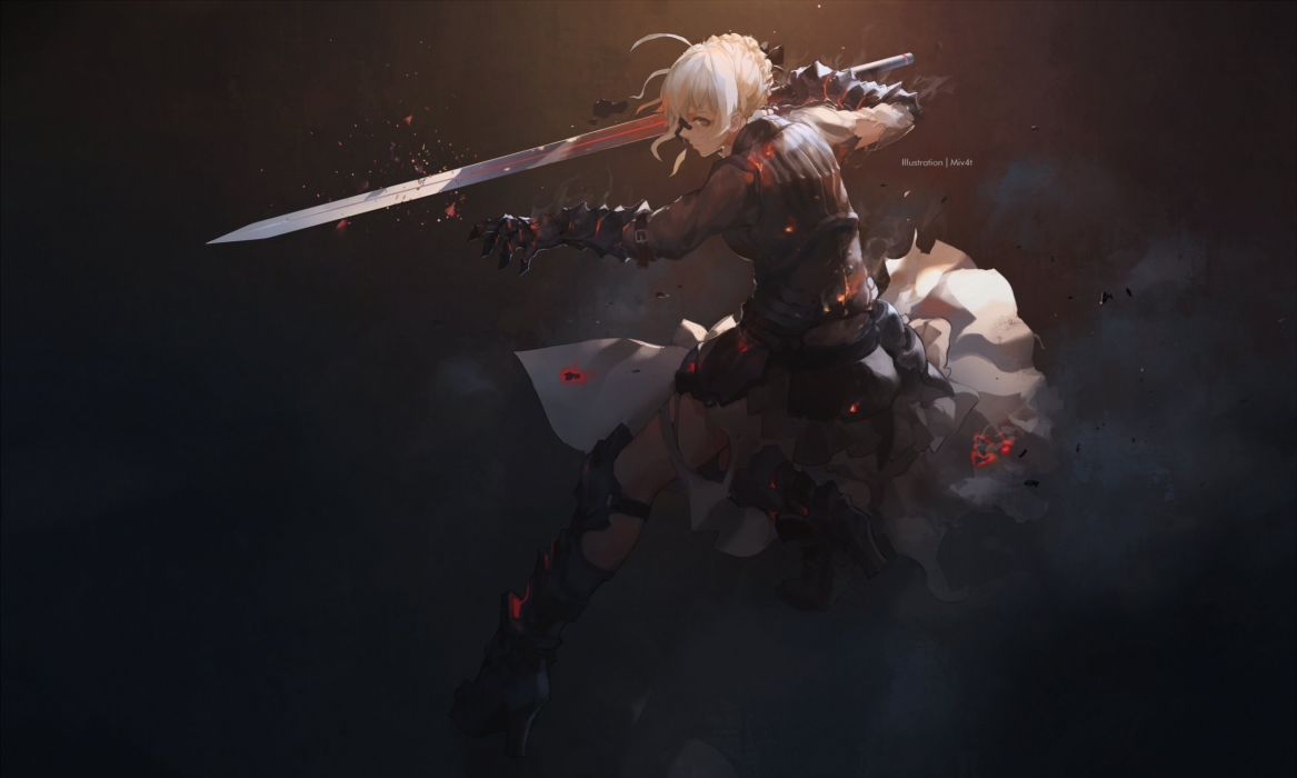 anime girl beautiful cute original armor fate grand order fate stay night heels mivit saber sword torn clothes wallpaper