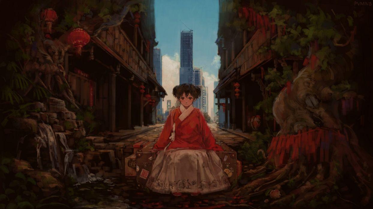 anime girl beautiful cute original asian clothes pvmivs wallpaper wallpaper