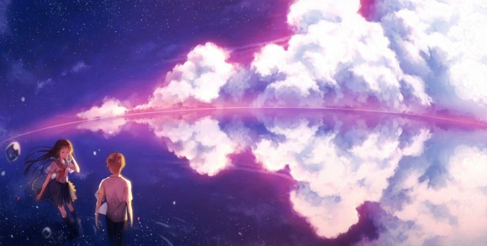 Mirrors anime girls sky cloud couple boy wallpaper