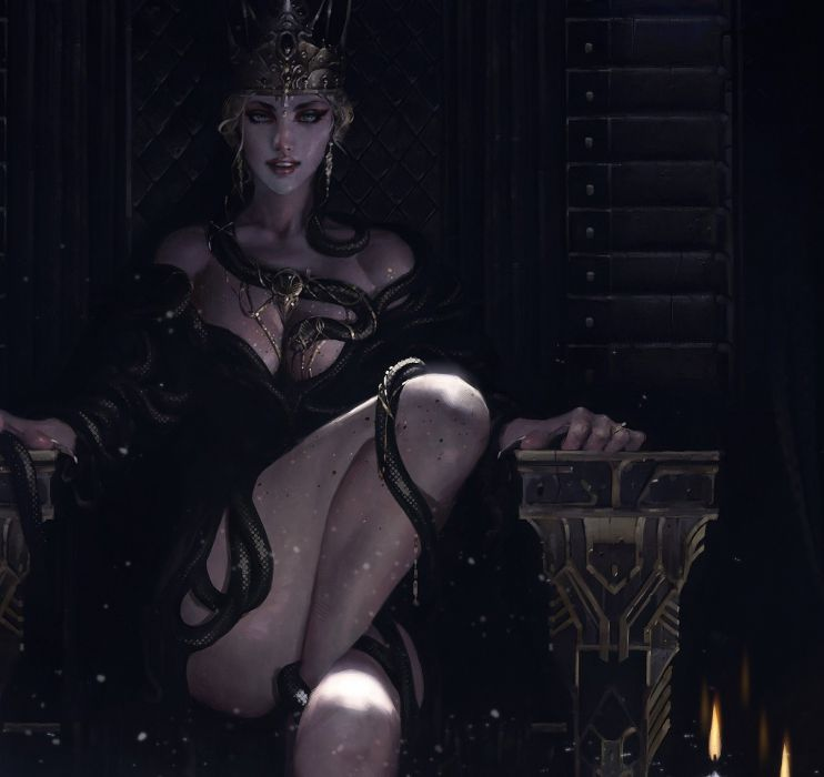 Fantasy woman Queen of Snakes wallpaper