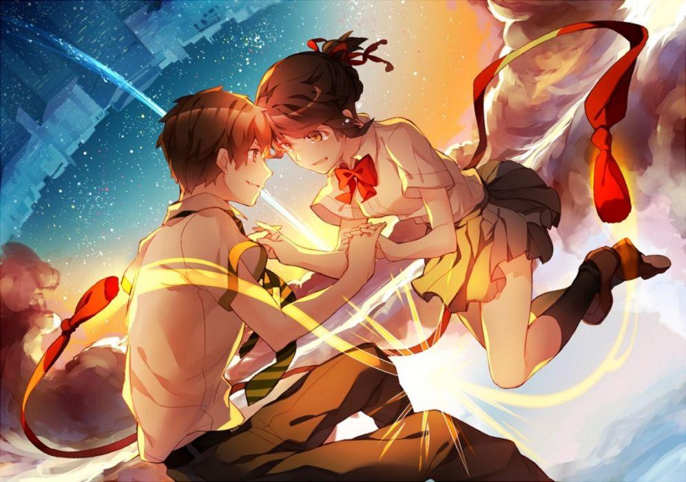Anime Girl Beautiful Cute Original Anime Couple Girl Boy Sky Love