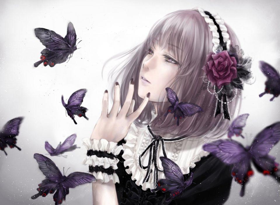 Fantasy Dark Butterflies anime girl beautiful cute original  wallpaper