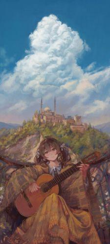 anime girl beautiful cute original dress guitar landscape pvmivs signed wallpaper