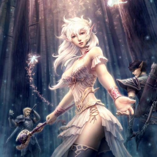 Blonde Elf fantasy girl beautiful cute original wallpaper