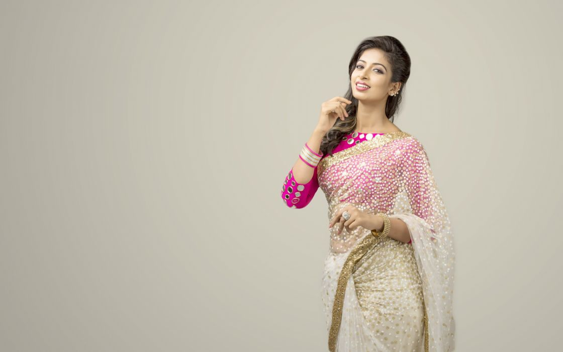 Archana Ravi bollywood actress model girl beautiful brunette pretty cute beauty sexy hot pose face eyes hair lips smile figure indian saree sari wallpaper