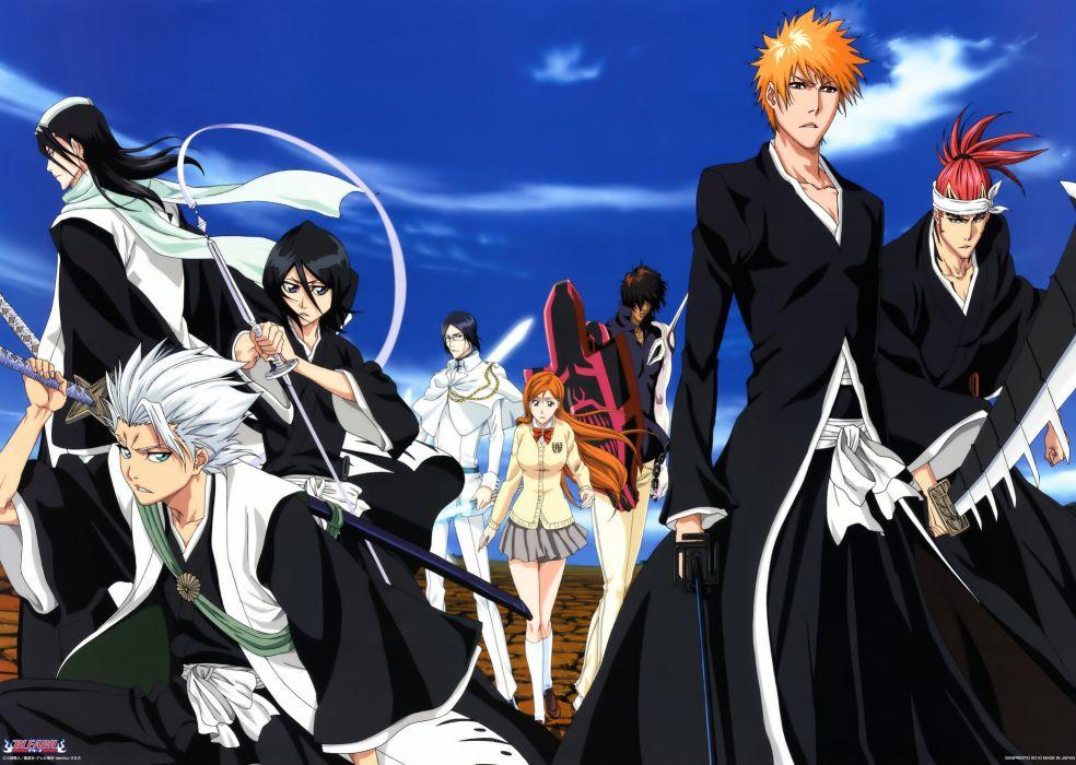 series anime abarai renji bleach hitsugaya toushirou inoue orihime kuchiki byakuya kuchiki rukia kurosaki ichigo seifuku sword uryuu ishida yasutora sado wallpaper