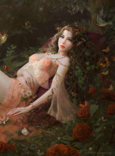 fantasy girl elf beautiful faairy forest rose wallpaper
